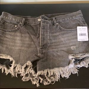 Free people jean shorts distressed